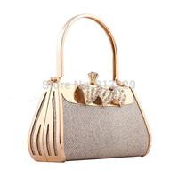 Luxury Lady Party Prom Bridal Gold Clutch Bag Women Handbag Purse Free shipping