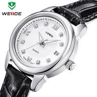calendar analog crystal diamond casual sports women dress watches WEIDE 2014 new luxury brand genuine leather straps watches