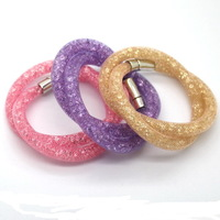 New Arrival! Hot Full Shining Micro Crystal Double Stardust Bracelet With Magnetic Clasp Ball Jewelry Fashion Bracelet!13 Color!