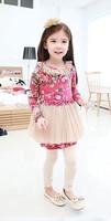 2014 hot selling Fall girl white gauze long-sleeved dress Free shipping