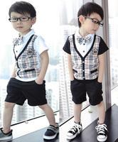 Free shipping 2014 New Arrival Baby Boy Clothes Children Clothing Sets Plaid Shirt + White Vest + Casual Set Roupas De Bebe