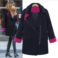 Large size  women warm winter hooded wool coat wide women's wool  Size XL-XXXXL parka women coat winter coat women woollen coat