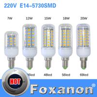Foxanon Brand E14 5730 Led Lamps 220V 7W 12W 15W 18W 20W LED Lights Corn Led Bulb Christmas Chandelier Candle Lighting 1PCS/Lot
