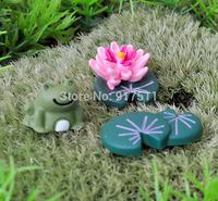 frog lotus flower 3pcs set mini  ZAKKA 3D simulation resin doll Mosses Micro Landscape Bonsai Aquarium Decoration DIY material