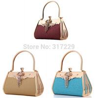 Free Shipping Women Prom Party Bridal Luxury Rhinestone Clutch Bag Handbag Purse 3Colors
