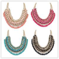 New 5 color hot Arrival big gem necklaces& pendants Trendy fashion bubble bib choker chunky statement necklace women jewelry