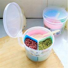 kitchen Food storage box plastic 3 samll boxes with cover+spoon cereal spice Multifunction storage seasoning box  free shipping(China (Mainland))