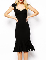 New 2015 Elegant Evening Dresses Women Black Dresses with Flouncing Hemline Free Shipping B4892 Eshow