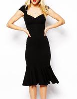New 2014 Elegant Evening Dresses Women Black Dresses with Flouncing Hemline Free Shipping B4892 Eshow