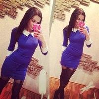 new fashion 2014 winter and fall turn down collar half-sleeve casual dress elegant dress women work wear