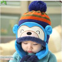 MZ088 2014 autumn new winter thickening cartoon monkey baby hats Outdoor thermal children's hat retail