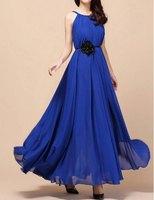 Fashion Bohemian Maxi Dresses Bandage Women Clothing Vestido Free Shipping Stylish Women's Jewel Neck Solid Color Chiffon Dress