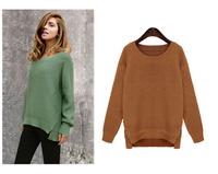 2014 European leg Fall Fashion new loose O-Neck solid color women sweater 7973