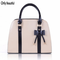 2015 New Fashion Ladies Candy Color Bowknot Elegant Small Bag Women Casual PU Leather Handbag Beige High Quality Free Shipping