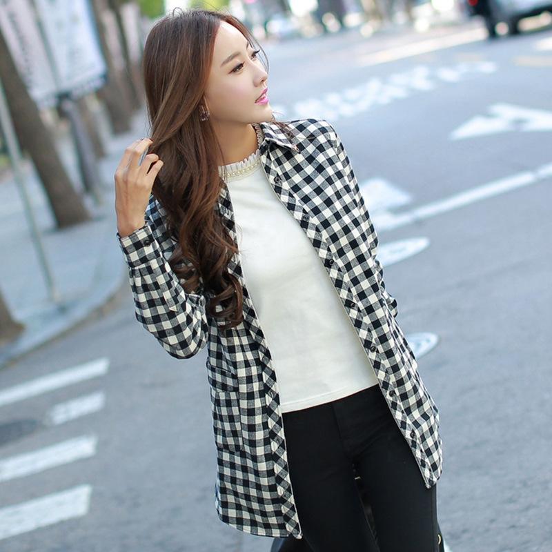 2014 new autumn and winter long trade plus thick velvet cotton shirt body repair lattice models(China (Mainland))