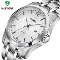 3ATM calendar wristwatch one year guarantee Dropship fashion causal WEIDE watch quartz movement full steel watches men analog