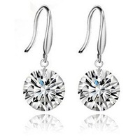 Platinum plated 8mm AAA cubic zirconia round earrings Free shipping