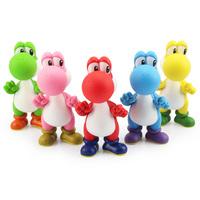 "5pcs/lot 5""12cm 5 Colors Super Mario Bros Yoshi PVC Figure Model Action Figure Toys Free Shipping"