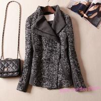 DASHING Thick Patchwork Oblique Zipper Pocket Snowflake Tweed Woolen Coat, Winter Slim Outerwear Overcoat Plus Size XXXL Y560