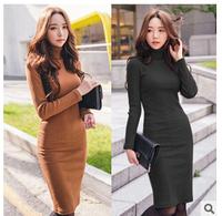 Hot Sale!! Brand Women Winter Dress 2014 New Fashion Pure Color Casual Dress Long Sleeve Autumn Slim Pencil Vestidos Work Wear