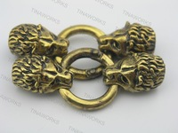 FREE SHIPPING 5 Sets Antique Golden Wolf Leather Cord Bracelet End Cap With Spring Clasp Hole Size 9.0mm