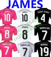 James Rodriguez Camisetas Real Madrid Jersey 2015 Kroos Uniform Pink Away Black Kit Ronaldo Camisas Real Madrid ISCO ALONSO BALE