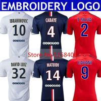 IBRAHIMOVIC Jersey 2015 Soccer Jerseys DAVID LUIZ T SILVA 14 15 Home Blue MATUIDI Third CAVANI LUCAS Uniform Kits Player Version