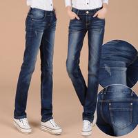 New arrival autumn winter warm women casual straight dark blue thick velet denim jeans,Higg quality mid-waist pants jeans woman