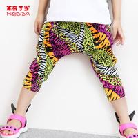 Hot Sale New 2014 Brand Casual Children Pants Leopard Print Drawstring 1312594 Elastic Waist Comfy Short Polyester Harem Pants