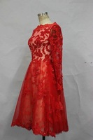 Real Sample Zuhair Murad Lace Evening Dress A Line Knee Length Party Dresses New Fashion 2014
