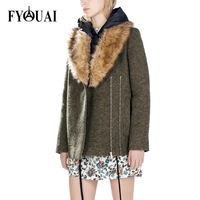 FYOUAI New Fashion 2014 Winter Woolen Coat Comfortable Big Fur Collar Coat For Women Casual Loose Outdoor Coat