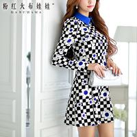 2015 Wholesale+ free shipping black  white plaid print slim waist long-sleeve women's cheap causal dress Online women's shop