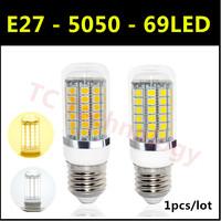 Free Shipping Hot 2014 Ultrabright SMD 5050 LED Lamp E27 15W AC 220V-240V 69LED Warm White/White Corn Bulb For Christmas Lights