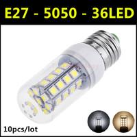 10pcs/lot High brightness SMD 5050 36LED E27 5W LED Lamp AC 220V-240V Warm White/White Corn Bulb Christmas Lights Free Shipping