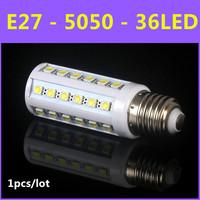 2014 High brightness Energy Saving LED Lamp SMD 5050 E27 36led 7W AC 110V-220V Warm White/White Corn Bulb Christmas Lights