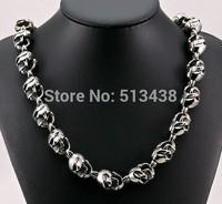 Best Price 208g Men's Rocker Biker 316L Stainless Steel Large Skull Link Necklace 15mm 29''