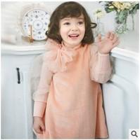 2014 New Arrival Children Lovely  Winter Dress Soft Velet Fabric And Cute Mesh-made Puff Sleeve Princess Dress