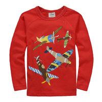 2014 New Autumn Baby Boys Plane T-shirt Tops Tees Kids Long Sleeve t-shirts Baby Printed tshirts Children's Cartoon Clothing