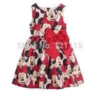Kids Summer princess dress of the girls Systemic Minnie head big bowknot sleeveless dress two styles