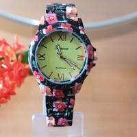 Hot Couture Geneva brand new ceramic flower girls ladies quartz watch fashion women children gift free shipping Relogio