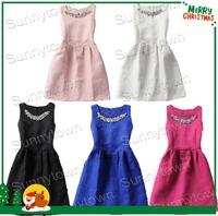 Hot sale 2014 korea mini autumn winter dresses empire sleeveless diamonds women dress five color five size