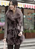 Free shipping 2014 Korean version of the new fur coat fox fur collar sheep skin long section of Girls