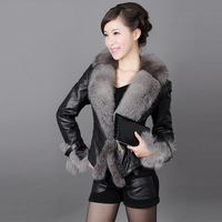 6998 women's short design leather clothing outerwear 2014 fox fur short slim design leather clothing fur Women