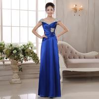 2014 Fashion Slim Formal Dress Long Evening Banquet Dress Maid of Honor Dress Royal Blue Sequined Dress