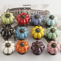 Dia 40mm Ceramic pumpkin knob for Kids Children, Ceramic Furniture Cabinet Drawer Knobs cupboard Pulls Handles Vintage Style