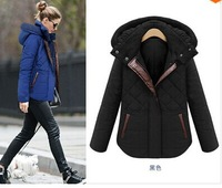 2014 New European Style Women's Down Cotton Jacket Winter Plaid Hooded Thick Coat Slim Overcoat  R8105