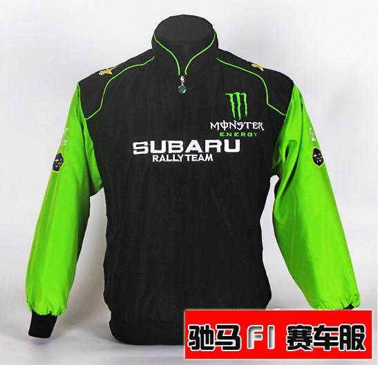 2014 SUBARU automóvel carro de corrida roupas desgaste do trabalho bordado cheio inverno masculino amassado outerwear jaqueta(China (Mainland))