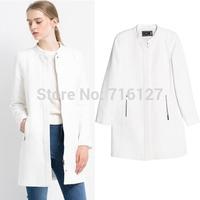 FREE SHIPPING new 2014  high-end Slim autumn winter Plus Size simple fashion White Collar Zipper pocket women wool coat S-XXXL