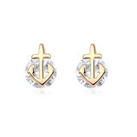 new brand design fashion woman Bestsellers 18K gold earrings CZ earrings OL small anchor 98437