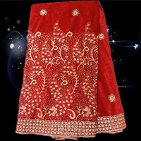 Item No.JV10-2,african velvet lace fabric !latest african laces!Free shipping Embroidered african lace red color!